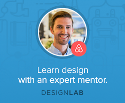 learn design with expert mentor CTA in blue box
